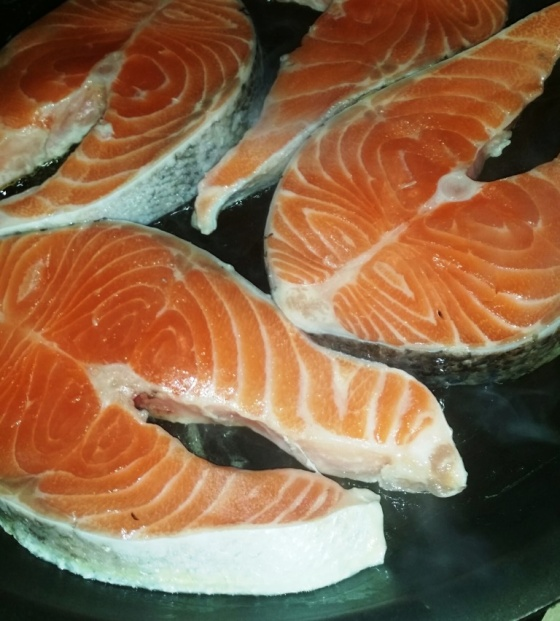 Fresh Salmon Sizzling